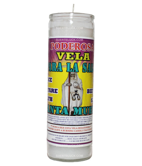 7-day spiritual scented candle Santa Muerte De la Salud by Mas Alla is white in wax color, the candle comes in a glass container. On the label you find the Santa Muerte de Salud candle prayer in Spanish and English. There is an image of Santa Muerte in  white a robe.