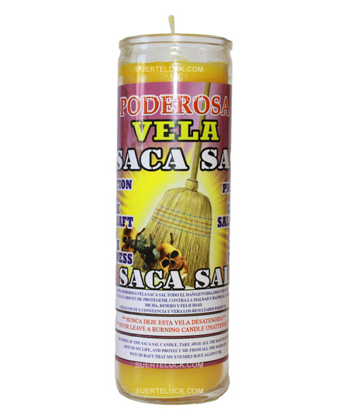 7-day spiritual scented candle Saca Sal by Mas Alla is yellow in wax color; the candle comes in a glass container. On the label you find the Saca Sal Prayer both in Spanish and English. There is an image shows a broom sweeping away skulls and witches.