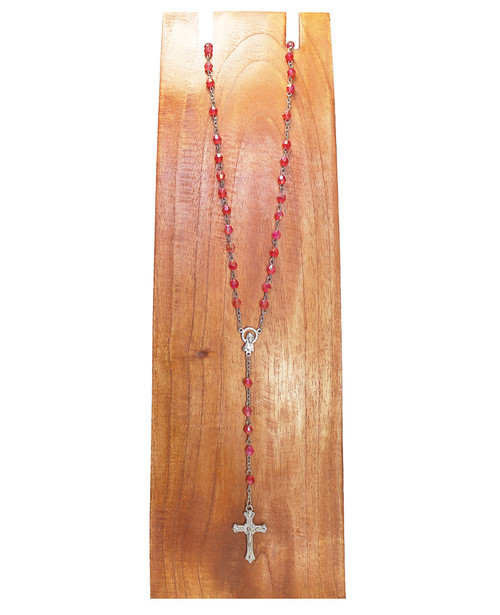 Pink Rosary With Stainless Steel Virgin and Cross.