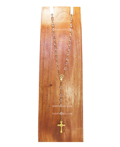 Clear First communion Rosary with Golden Crucifix  wood necklace hanger