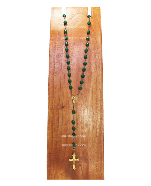 Emerald Green Rosary with Golden Crucifix  wooden board necklace hanger