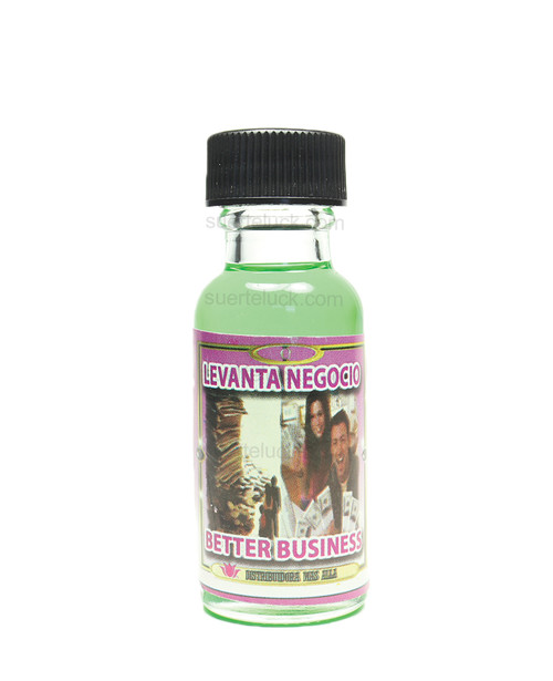 Spiritual Oil Better Business  Aceite Espiritual Levanta Negocios  1/2 ounce clear bottle with black cap Green spiritual oil