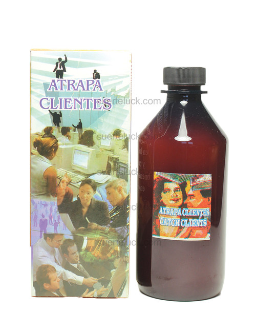 Spiritual Bath Catch Clients  8 ounce amber plastic bottle with black cap