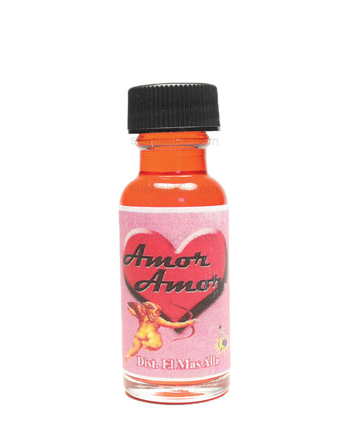 Spiritual Oil Love  Aceite Espiritual Amor  1/2 Ounce glass bottle with a black cap
