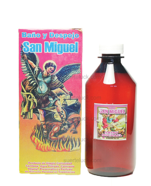 Spiritual Bath Saint Michael  8 ounce plastic amber bottle