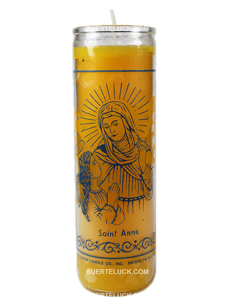 Spiritual Saint Anne Candle  Prayer Yellow Candle  Church candle  Crusader Candle