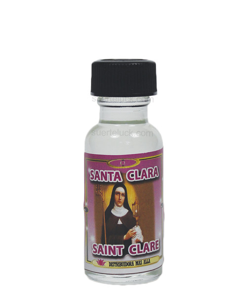 Aceite Espiritual Santa Clara  1/2 ounce round glass bottle Clear spiritual oil