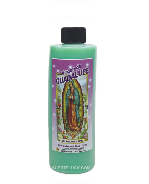 Spiritual Bath Virgin of Guadalupe Baño Espiritual Virgen de Guadalupe  8 ounce plastic bottle  Green Spiritual bath