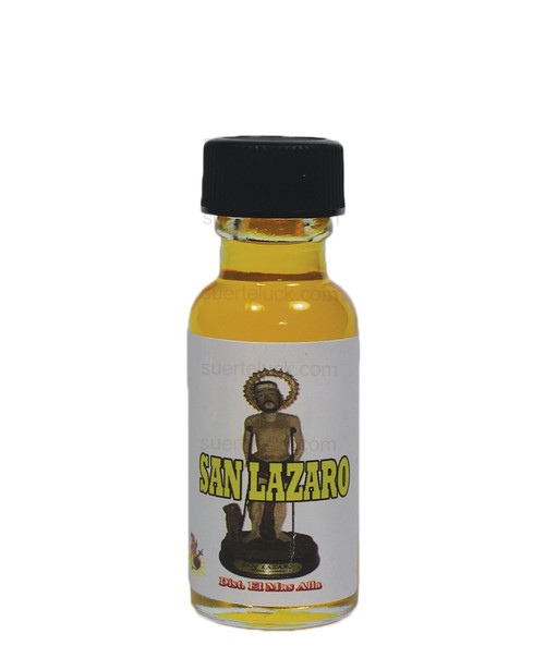 Spiritual oil Saint Lazarus 1/2 ounce round glass bottle  Yellow spiritual oil