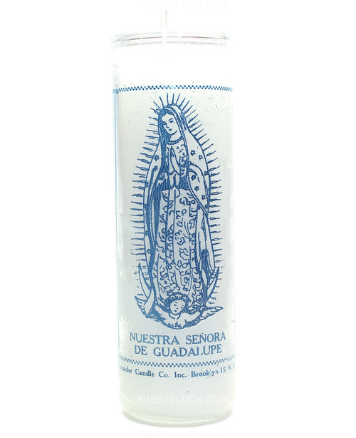 Our Lady Virgen Of Guadalupe Candle  White Candle