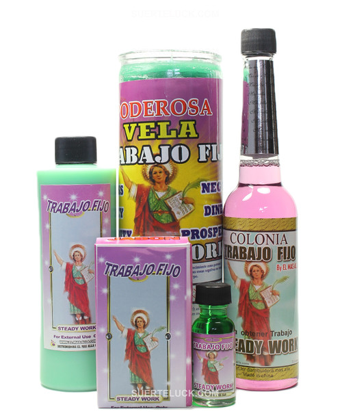 Steady Job Spiritual Ritual San Pancracio  Bath wash Scented candle Cologne Oil Soap