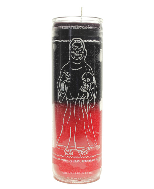 Spiritual Candle Santa Muerte 2 color candle  black and red
