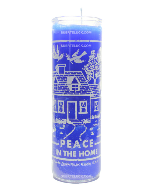 Peace at home spiritual candle  blue  tall glass candle jar