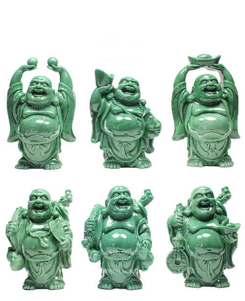 Set of Jade Buddha statues 6 pieces