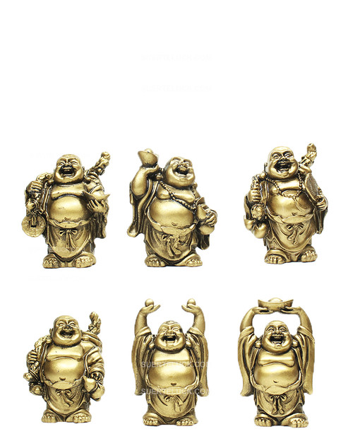 Golden Buddhas Laughing  Prosperity  Set of 6