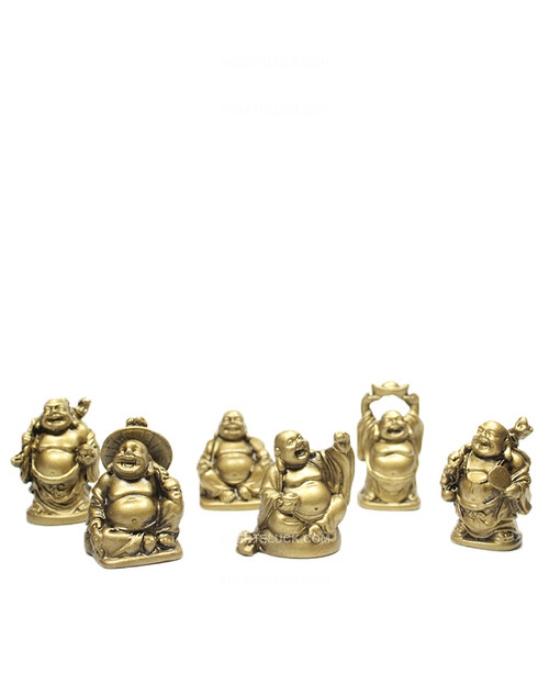 Small Buddha Set Gold Laughing 6 statues