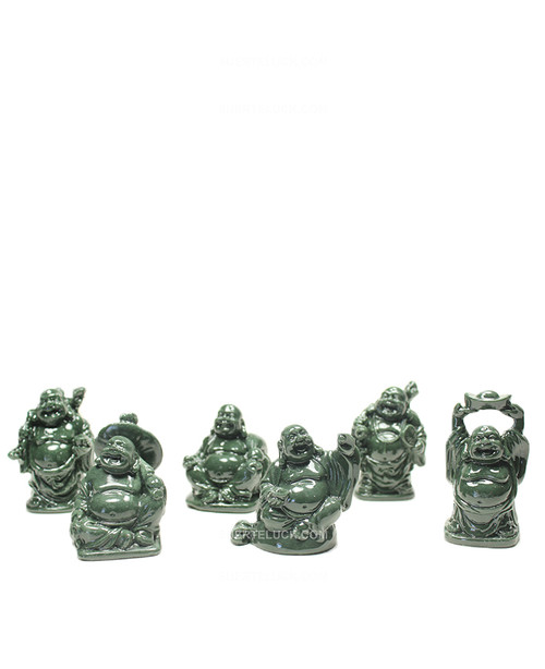 Green Buddha  Prosperity  Happy  Laughing  Set of 6