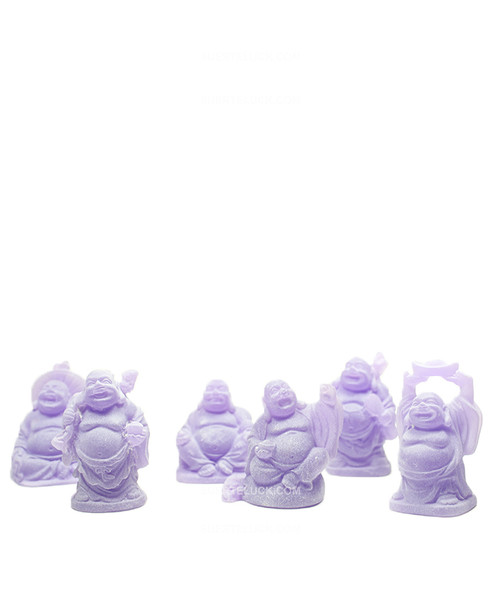 Purple Laughing Buddha Statues Miniature Set of 6