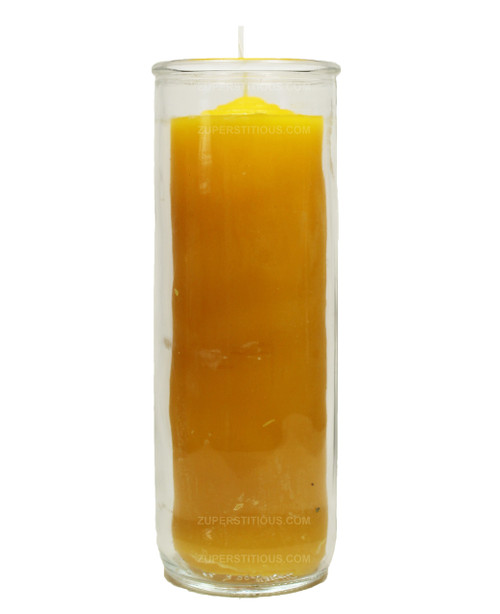 Yellow Pull Out Candle  7 Days  Refill Candle Glass
