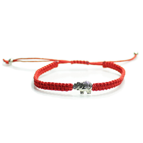 Braided Red String Kabbalah  Lucky Elephant Bracelet  Handmade