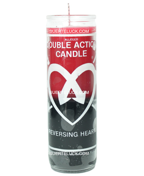 Double Action Reversing Hearts Candle  Red and Black  Crusader Candle