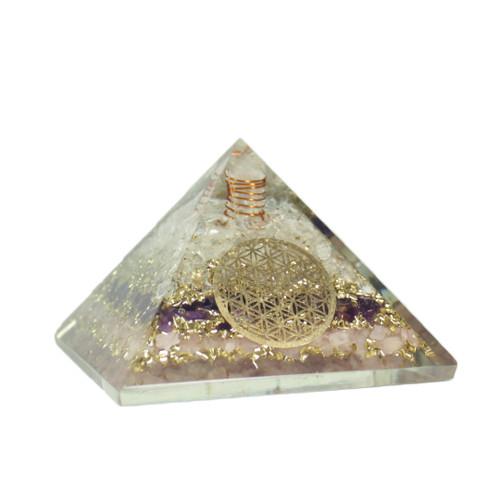 Orgonite Pyramid  Moonstone  Rose Quartz  Amethyst