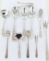EXQUISITE / DECORATIVE LOT OF ASSORTED STIEFF STERLING SILVER CUTLERY.