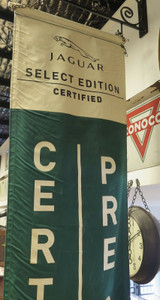 A Pair Of Vintage Hanging Jaguar Pre Owned Show Room Banners 2.4m High