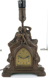 STUNNING / LARGE AMERICAN COMBINATION CLOCK & ELECTRIC LAMP ORNAMENT.