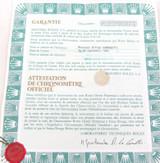 OBSOLETE 1979 ROLEX OYSTER DATE REF 1501 GUARANTEE CERTIFICATE. CASE No 6239001