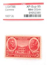 US STAMP. #786 1937 2c CARMINE PSE GRADED XF-SUP 95 MINT OGnh