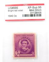 US STAMP. #886 1940 3c BRIGHT RED VIOLET PSE GRADED XF-SUP 95 MINT OGnh.