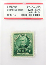 US STAMP. #869 1940 1c BRIGHT BLUE GREEN PSE GRADED XF-SUP 95 MINT OGnh.
