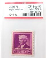 US STAMP. #876 1940 3c BRIGHT RED VIOLET PSE GRADED XF-SUP 95 MINT OGnh.