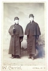 1880s QUALITY STUDIO PHOTO by W CARRIEL, CUBA, N.Y. MEN IN BOWLER HATS OVERCOATS