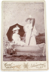 1880s LARGE STUDIO PHOTO by CARL HOLMQUIST, JAMESTOWN, N.Y. LADIES IN A BOAT.