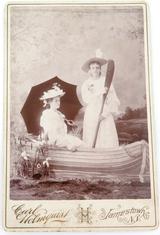 1880s LARGE STUDIO PHOTO by CARL HOLMQUIST, JAMESTOWN, N.Y. LADIES IN A BOAT.