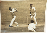 1947 ORIGINAL PRESS PHOTO. AUST v INDIA. MILLER SKIES A BALL, DROPPED BY MANKAD