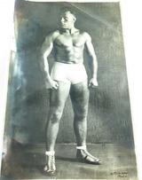 WRESTLING 1934 RARE LARGE SIGNED PHOTO, GEORGE PENCHEFF, IWA AUST H/WEIGHT CHAMP