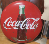 """Vintage Large Coca Cola 48"""" Inch (122cm) Coke Bottle Button Porcelian Sign"""