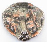 High Relief Vintage Designer VVV Valenti Metal Sculptural Dog Portrait Plate
