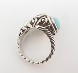 Beautiful Blue Aragonite Topaz & Pearl Sterling Silver Scroll Ring 8.8g Size O