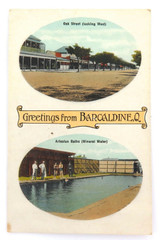 """RARE EARLY 1900s """"GREETINGS FROM BARCALDINE, Q"""" GLOSS COLOUR POSTCARD."""