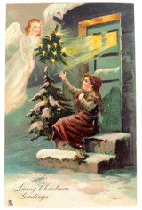 c1910 SUPERB EMBOSSED RAPHAEL TUCK & SONS CHRISTMAS XMAS POSTCARD.
