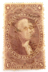 1862 - 1871 US $2.50 INLAND EXCHANGE REVENUE STAMP. HANDWRITTEN CANCEL.