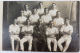 RARE c1918 REAL PHOTO POSTCARD IPSWICH GRAMMAR SCHOOL, 1ST CRICKET ELEVEN
