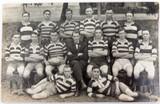 RARE 1921 REAL PHOTO POSTCARD IPSWICH GRAMMAR SCHOOL, 1ST 15 RUGBY. J A HUNT