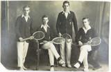 RARE c1918 REAL PHOTO POSTCARD IPSWICH GRAMMAR SCHOOL, 1ST's TENNIS. J A HUNT