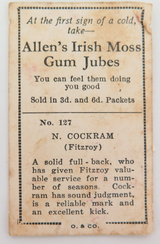 1933 ALLENS ALLEN'S FOOTBALLERS TRADING CARD. FITZROY , N COCKRAM CARD NO 127