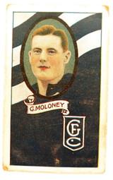 1933 ALLENS ALLEN'S FOOTBALLERS TRADING CARD. GEELONG , G MOLONEY CARD NO 33